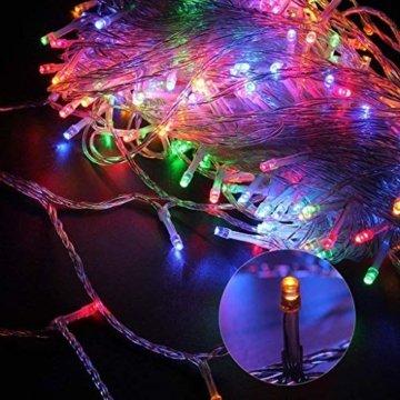 ANKOUJA Lichterkette LED Innen Außen für Weihnachtsbaum IP44 Bunt Lichterkette Strombetrieben Verbindlich 100 leds Memory Funktion 8 Lichtereffekte für Weihnachten - 2