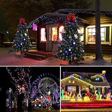 ANKOUJA Lichterkette LED Innen Außen für Weihnachtsbaum IP44 Bunt Lichterkette Strombetrieben Verbindlich 100 leds Memory Funktion 8 Lichtereffekte für Weihnachten - 5