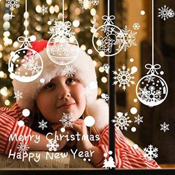 ASANMU Fensterbilder Weihnachten Fenstersticker 4 Stücke 43*30 cm Weihnachtsdeko Fensterbilder Wiederverwendbare Winter Fenster Aufkleber Wandtattoo PVC Sticker Schneeflocken (Weihnachtskugel Hängen) - 2