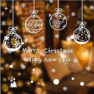 ASANMU Fensterbilder Weihnachten Fenstersticker 4 Stücke 43*30 cm Weihnachtsdeko Fensterbilder Wiederverwendbare Winter Fenster Aufkleber Wandtattoo PVC Sticker Schneeflocken (Weihnachtskugel Hängen) - 3
