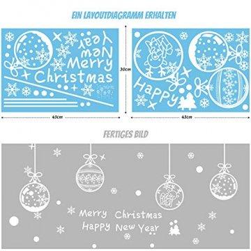 ASANMU Fensterbilder Weihnachten Fenstersticker 4 Stücke 43*30 cm Weihnachtsdeko Fensterbilder Wiederverwendbare Winter Fenster Aufkleber Wandtattoo PVC Sticker Schneeflocken (Weihnachtskugel Hängen) - 4
