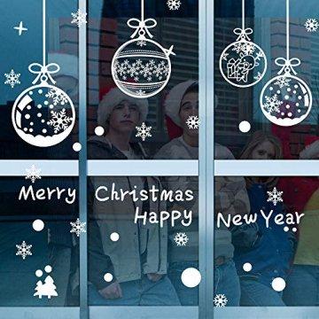 ASANMU Fensterbilder Weihnachten Fenstersticker 4 Stücke 43*30 cm Weihnachtsdeko Fensterbilder Wiederverwendbare Winter Fenster Aufkleber Wandtattoo PVC Sticker Schneeflocken (Weihnachtskugel Hängen) - 1