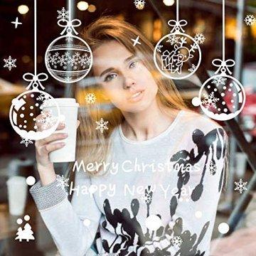 ASANMU Fensterbilder Weihnachten Fenstersticker 4 Stücke 43*30 cm Weihnachtsdeko Fensterbilder Wiederverwendbare Winter Fenster Aufkleber Wandtattoo PVC Sticker Schneeflocken (Weihnachtskugel Hängen) - 6