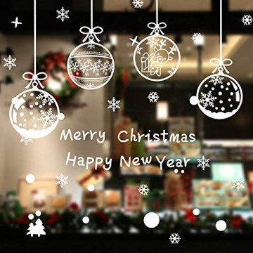 ASANMU Fensterbilder Weihnachten Fenstersticker 4 Stücke 43*30 cm Weihnachtsdeko Fensterbilder Wiederverwendbare Winter Fenster Aufkleber Wandtattoo PVC Sticker Schneeflocken (Weihnachtskugel Hängen) - 7