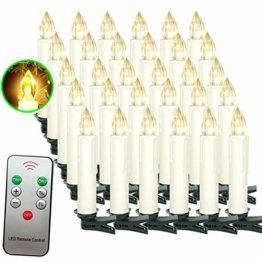 Aufun LED Kerzen 30 Stück Weihnachtskerzen mit Fernbedienung Warmweiß LED Kerzen Outdoor Weinachten LED für Weihnachtsbaum, Weihnachtsdeko, Hochzeitsdeko, Party, Feiertag - 1