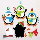 Baker Ross AT240 Weihnachtskugeln Mix & Match Pinguin (6 Stück) Christbaumschmuck Bastelset für Kinder, Sortiert - 1