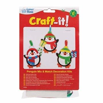 Baker Ross AT240 Weihnachtskugeln Mix & Match Pinguin (6 Stück) Christbaumschmuck Bastelset für Kinder, Sortiert - 4
