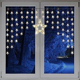 Beleuchteter Weihnacht Sternenvorhang Lichterkette Fensterdeko 90 LED warm weiß mit Saugnäpfe Einfach zu montieren Breite 135 cm, Höhe 95 cm, Zuleitung 5 m - 1