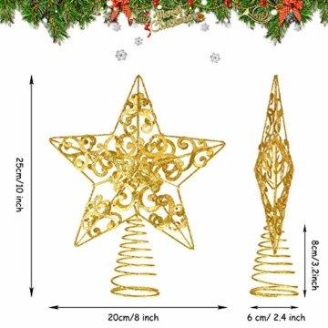 Blulu Glitzernde Weihnachtsbaum Topper 10 Zoll Metall Stern Wipfel Xmas Aushöhlen Stern Topper für Christbaumschmuck (Gold) - 3