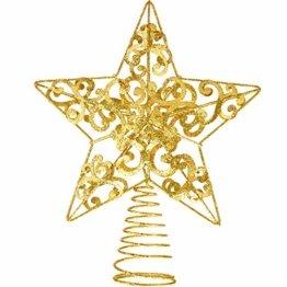 Blulu Glitzernde Weihnachtsbaum Topper 10 Zoll Metall Stern Wipfel Xmas Aushöhlen Stern Topper für Christbaumschmuck (Gold) - 1