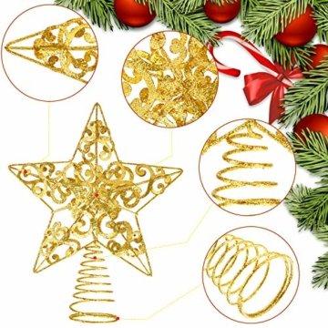 Blulu Glitzernde Weihnachtsbaum Topper 10 Zoll Metall Stern Wipfel Xmas Aushöhlen Stern Topper für Christbaumschmuck (Gold) - 4
