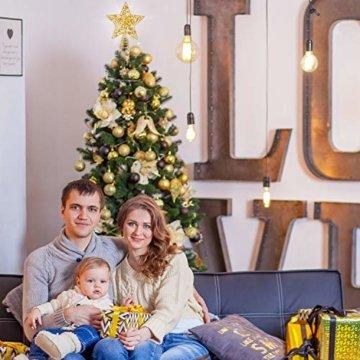 Blulu Glitzernde Weihnachtsbaum Topper 10 Zoll Metall Stern Wipfel Xmas Aushöhlen Stern Topper für Christbaumschmuck (Gold) - 5
