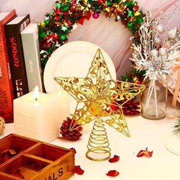 Blulu Glitzernde Weihnachtsbaum Topper 10 Zoll Metall Stern Wipfel Xmas Aushöhlen Stern Topper für Christbaumschmuck (Gold) - 6