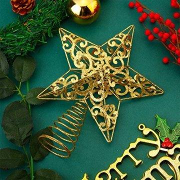 Blulu Glitzernde Weihnachtsbaum Topper 10 Zoll Metall Stern Wipfel Xmas Aushöhlen Stern Topper für Christbaumschmuck (Gold) - 7