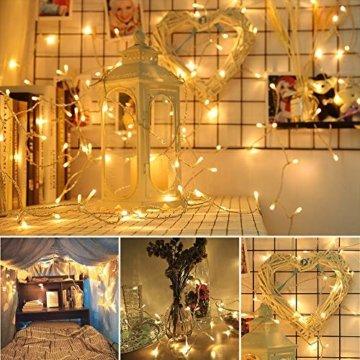 BrizLabs 100 LED Innen Lichterkette Warmweiß 15M Weihnachts Außenbeleuchtung 8 Modi Wasserdicht für Outdoor Weihnachtsbaum Zimmer Garten Party Hochzeit Halloween Deko - 3