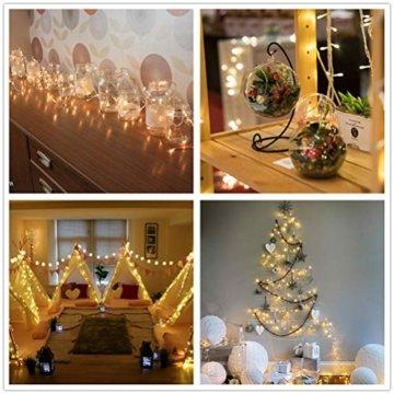 BrizLabs 100 LED Innen Lichterkette Warmweiß 15M Weihnachts Außenbeleuchtung 8 Modi Wasserdicht für Outdoor Weihnachtsbaum Zimmer Garten Party Hochzeit Halloween Deko - 4