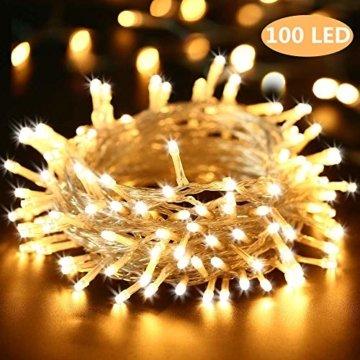 BrizLabs 100 LED Innen Lichterkette Warmweiß 15M Weihnachts Außenbeleuchtung 8 Modi Wasserdicht für Outdoor Weihnachtsbaum Zimmer Garten Party Hochzeit Halloween Deko - 1