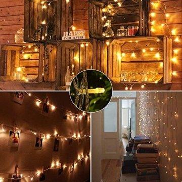 BrizLabs 100 LED Innen Lichterkette Warmweiß 15M Weihnachts Außenbeleuchtung 8 Modi Wasserdicht für Outdoor Weihnachtsbaum Zimmer Garten Party Hochzeit Halloween Deko - 6