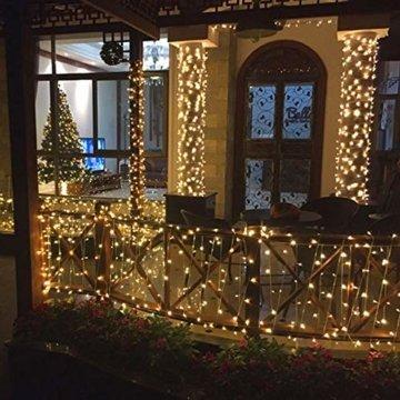 BrizLabs 100 LED Innen Lichterkette Warmweiß 15M Weihnachts Außenbeleuchtung 8 Modi Wasserdicht für Outdoor Weihnachtsbaum Zimmer Garten Party Hochzeit Halloween Deko - 7