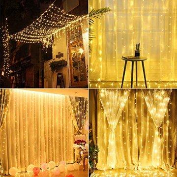 BrizLabs LED USB Lichtervorhang 3m x 3m, 300 LED Kupferdraht Lichterkettenvorhang Innen Lichterkette mit 8 Modi Fernbedienung für Party Schlafzimmer Fenster Weihnachten Deko, Warmweiß - 2