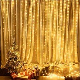 BrizLabs LED USB Lichtervorhang 3m x 3m, 300 LED Kupferdraht Lichterkettenvorhang Innen Lichterkette mit 8 Modi Fernbedienung für Party Schlafzimmer Fenster Weihnachten Deko, Warmweiß - 1