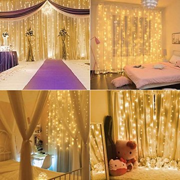BrizLabs LED USB Lichtervorhang 3m x 3m, 300 LED Kupferdraht Lichterkettenvorhang Innen Lichterkette mit 8 Modi Fernbedienung für Party Schlafzimmer Fenster Weihnachten Deko, Warmweiß - 5