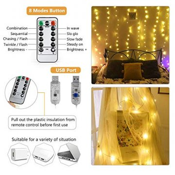 BrizLabs LED USB Lichtervorhang 3m x 3m, 300 LED Kupferdraht Lichterkettenvorhang Innen Lichterkette mit 8 Modi Fernbedienung für Party Schlafzimmer Fenster Weihnachten Deko, Warmweiß - 6
