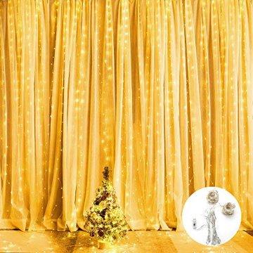 BrizLabs LED USB Lichtervorhang 3m x 3m, 300 LED Kupferdraht Lichterkettenvorhang Innen Lichterkette mit 8 Modi Fernbedienung für Party Schlafzimmer Fenster Weihnachten Deko, Warmweiß - 7
