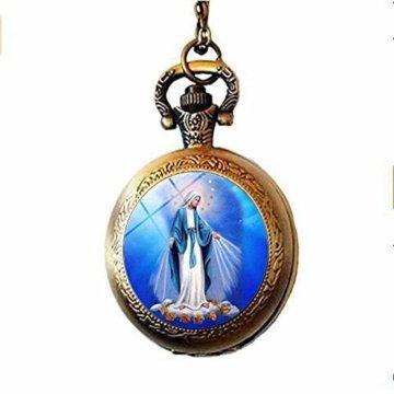 Christbaumschmuck Jungfrau Maria Baby Jesus Religiöse Taschenuhr Halskette Spirituelle Glaskunst Foto Schmuck Geschenk - 3