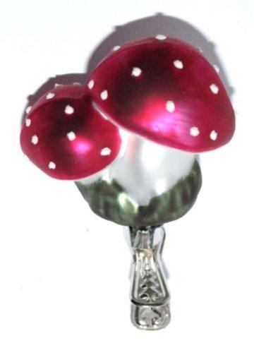 Christbaumschmuck Pilz Glückspilz Fliegenpilz Clip Weihnachtskugel Weihnachtsbaumschmuck Glas mundgeblasen - 2