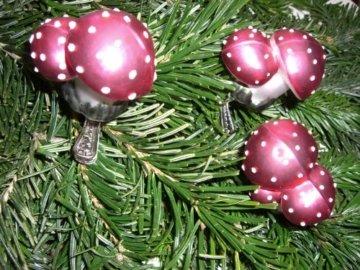 Christbaumschmuck Pilz Glückspilz Fliegenpilz Clip Weihnachtskugel Weihnachtsbaumschmuck Glas mundgeblasen - 3