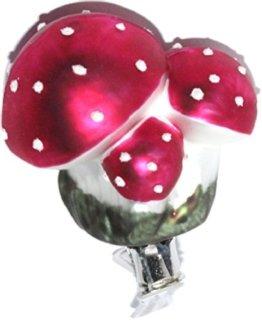 Christbaumschmuck Pilz Glückspilz Fliegenpilz Clip Weihnachtskugel Weihnachtsbaumschmuck Glas mundgeblasen - 1