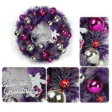 Daity Weihnachtskranz mit Weihnachtskugeln, Kiefernadel und Tannenzapfen Weihnachtsdeko für Tür und Fenster, Durchmesser 35 cm - 3