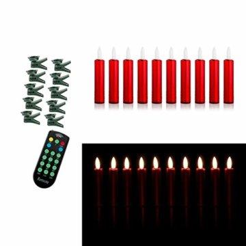 DbKW NEUHEIT! (Rot 10er) Echtflamme-LED Christbaumkerzen, Fernbedienung Timer Dimmfunktion Flackerlicht. Baumkerzen Weihnachtskerzen - 3