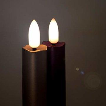 DbKW NEUHEIT! (Rot 10er) Echtflamme-LED Christbaumkerzen, Fernbedienung Timer Dimmfunktion Flackerlicht. Baumkerzen Weihnachtskerzen - 4