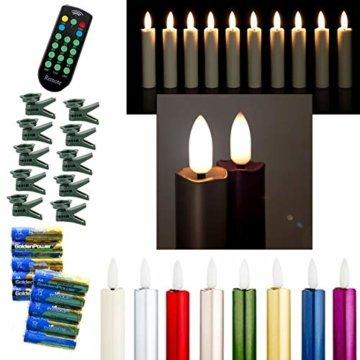 DbKW NEUHEIT! (Rot 10er) Echtflamme-LED Christbaumkerzen, Fernbedienung Timer Dimmfunktion Flackerlicht. Baumkerzen Weihnachtskerzen - 1