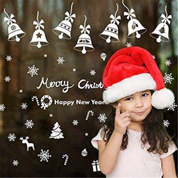 EDOTON Fensterbilder Schneeflocken Glocke Weihnachten Dekoration Aufkleber für Vitrine Fensterdeko Set Selbstklebend Abnehmbare PVC Aufkleber Winter Dekoration 6 Blatt - 3