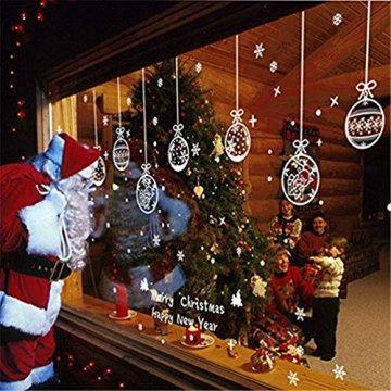 EDOTON Fensterbilder Schneeflocken Glocke Weihnachten Dekoration Aufkleber für Vitrine Fensterdeko Set Selbstklebend Abnehmbare PVC Aufkleber Winter Dekoration 6 Blatt - 4