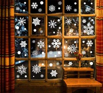 EDOTON Fensterbilder Schneeflocken Glocke Weihnachten Dekoration Aufkleber für Vitrine Fensterdeko Set Selbstklebend Abnehmbare PVC Aufkleber Winter Dekoration 6 Blatt - 5