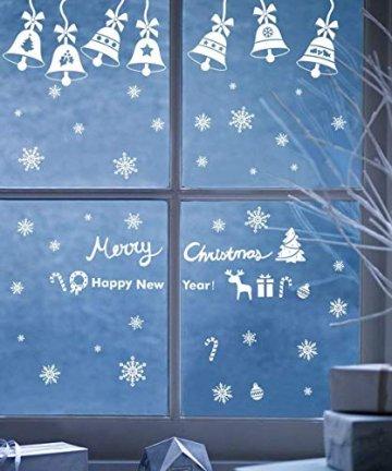 EDOTON Fensterbilder Schneeflocken Glocke Weihnachten Dekoration Aufkleber für Vitrine Fensterdeko Set Selbstklebend Abnehmbare PVC Aufkleber Winter Dekoration 6 Blatt - 6