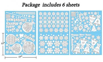 EDOTON Fensterbilder Schneeflocken Glocke Weihnachten Dekoration Aufkleber für Vitrine Fensterdeko Set Selbstklebend Abnehmbare PVC Aufkleber Winter Dekoration 6 Blatt - 7
