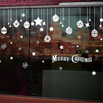 Emwel 2 Stück Weihnachtsdeko Merry Christmas Schaufensterdekoration Weihnachtssticker Wandaufkleber Fenster Aufkleber Engel Bälle Weihnachten Xmas V - 2