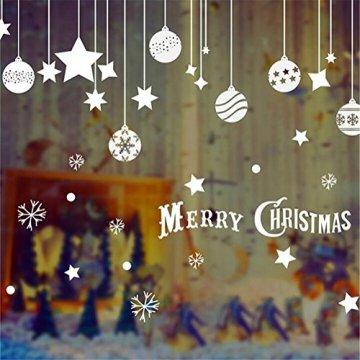 Emwel 2 Stück Weihnachtsdeko Merry Christmas Schaufensterdekoration Weihnachtssticker Wandaufkleber Fenster Aufkleber Engel Bälle Weihnachten Xmas V - 3