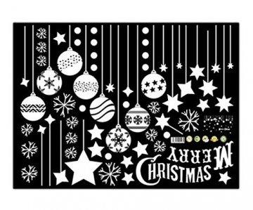 Emwel 2 Stück Weihnachtsdeko Merry Christmas Schaufensterdekoration Weihnachtssticker Wandaufkleber Fenster Aufkleber Engel Bälle Weihnachten Xmas V - 4