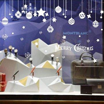 Emwel 2 Stück Weihnachtsdeko Merry Christmas Schaufensterdekoration Weihnachtssticker Wandaufkleber Fenster Aufkleber Engel Bälle Weihnachten Xmas V - 1