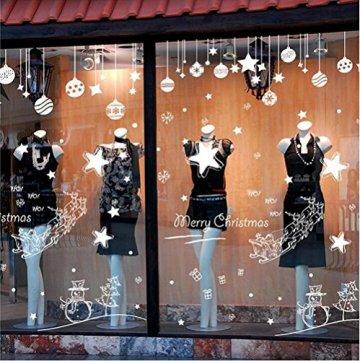 Emwel 2 Stück Weihnachtsdeko Merry Christmas Schaufensterdekoration Weihnachtssticker Wandaufkleber Fenster Aufkleber Engel Bälle Weihnachten Xmas V - 5