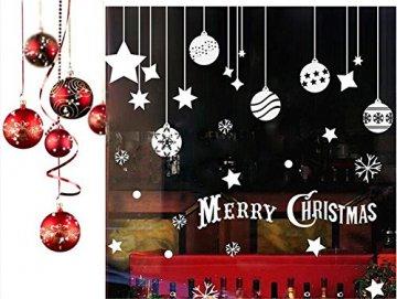 Emwel 2 Stück Weihnachtsdeko Merry Christmas Schaufensterdekoration Weihnachtssticker Wandaufkleber Fenster Aufkleber Engel Bälle Weihnachten Xmas V - 6