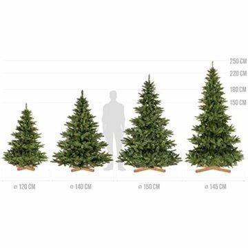FairyTrees künstlicher Weihnachtsbaum NORDMANNTANNE, grüner Stamm, Material PVC, inkl. Holzständer, 180cm, FT14-180 - 7