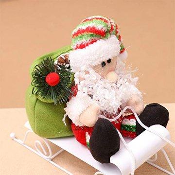 Fansi Weihnachtsmannfiguren für Kinder, Schneemobil, Weihnachtsmann, Puppen, Festival, Szene, Layout Requisiten für Geschenk, Weiß - 6
