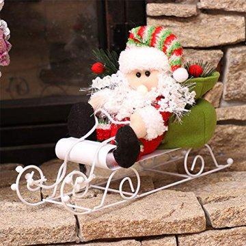 Fansi Weihnachtsmannfiguren für Kinder, Schneemobil, Weihnachtsmann, Puppen, Festival, Szene, Layout Requisiten für Geschenk, Weiß - 7